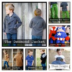 Boy sewing patterns... So fricken cute!! Makes me want a little boy so he can wear these!!!