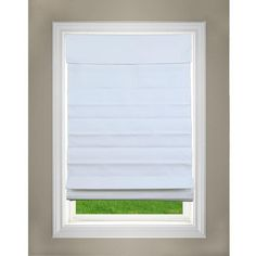 Perfect Lift Window Treatment White Cordless Fabric Roman Shade - 35 in. W x 64 in. L