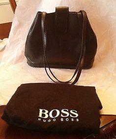 HUGO BOSS Women's Black Smooth Leather Shoulder Bag Purse with Dustbag | eBay