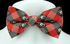 New University Of Georgia Plaid Mens Bow Tie Adjustable College Logo Red Bowtie #EaglesWings #BowTie