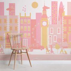 Pink London City Living Mural Wallpaper
