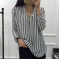 Only US14.89, buy M striped chiffon v neck blouse Stripe at online blouses shop, sammydress.com Mobile.