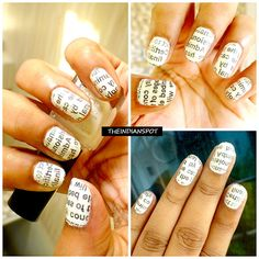 Who says newspapers are only for reading? Girls are intelligent enough to use it to do a stunning nail art...