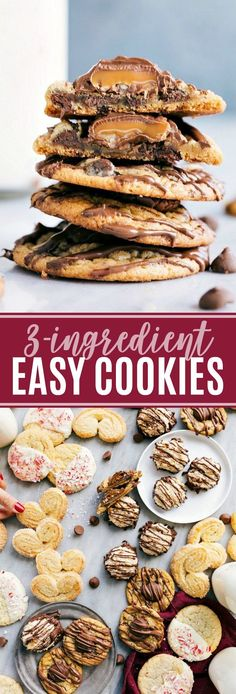 ultimate BEST EVER COOKIES! These easy cookies are so delicious and everyone goes crazy over them! Turtle cookies, palmiers, chocolate-covered macaroons, and white chocolate peppermint sugar cookies via Easy Cookie Recipes, Easy Desserts, Dessert Recipes, Baking Desserts, Healthy Recipes, Lemon Recipes, Easy Recipes, Quick Cookies, Easy Sugar Cookies