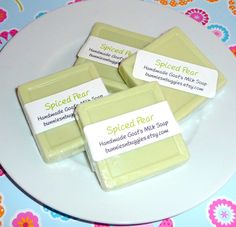 Spiced Pear MINI GUEST BAR Soap  Handmade Goats by bunniesnbuggies, $1.25