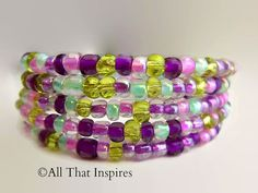 Glass Beaded Wrap Bracelet - Handmade Jewelry - Colorful Jewelry - Homemade - Silver Plated - Spring Trends on Etsy, $14.00