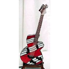 Red Tiffany Style Stained Glass Electric Guitar Lamp