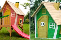 If you're buying a cubby house, don't go traditional – go wacky! These crooked wooden play houses look like they've landed straight out of a Dr Seuss book.