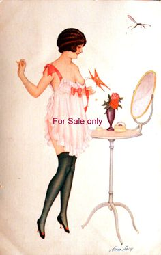 Xavier Sager Signed Art Nouveau See thru Nude A. Noyer Set 148 Risque Sexy by JerryBurton on Etsy