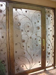 for my bedroom windows---Metallic faux painting on glass doors--