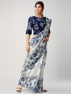 b99ac0d8a636be Buy Ivory Blue Printed Chanderi Saree with Blouse (Set of 2) App Sarees  Online