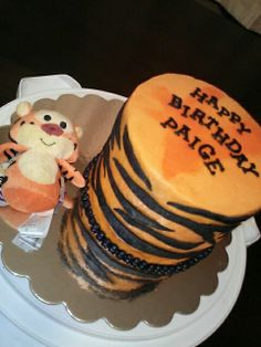 Tigger-inspired chocolate cake with hand cut tiger stripes