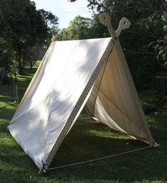 Viking tent with canvas cover. There is a download section on this website with patterns for the tent as well!