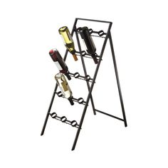 Bottoms Up Wine Rack --- Arrange your wine bottles head first in the Bottoms Up Wine Rack. This rack props open like a sandwich board and is a great addition to a restaurant, wine cellar, or roomy dining room.