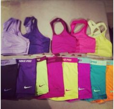 Sports bras and matching shorts