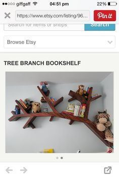 I like this tree branch book shelf will be making one soon Bespoke Furniture, Tree Branches, Bookshelves, Shelf, How To Make, Etsy, Bookcases, Shelving, Book Shelves