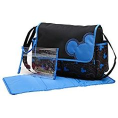 Disney Mickey Mouse Flap Diaper Bag, Black/Blue