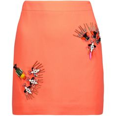 Stella McCartney Becca crystal-embellished crepe de chine mini skirt (1.085 BRL) ❤ liked on Polyvore featuring skirts, mini skirts, bright orange, beaded skirt, multicolor skirt, mini skirt, short red skirt and short mini skirts