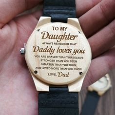 Daughter quotes - To my daughter always remember that mommy loves you engraved maple wood watch
