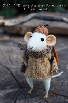 Little Traveler Mouse  Felting Dreams  READY TO by feltingdreams, $88.00... Curiosity saved the mouse! So cute!  @Lisa Verardo