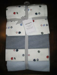 New NWT Carter Blue Red Football 4 Pack Receiving Flannel Cotton Blanket Set