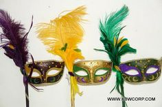 Mardi Gras, Venetian-style mask with large feathers, ribbon and side stick. All of the masks are hand made and intricately designed offering each a unique flair. Mardi Gras Mask with Feathers, Feathered Mardi Gras Venetian Mask Lingerie Accessories, Costume Accessories, Large Feathers, Mardi Gras, Masquerade, Party Themes, Elegant Sophisticated, Costumes, Venetian