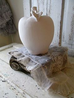 Large white apple vintage French Nordic by AnitaSperoDesign