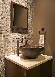Powder Room Ideas - i like the tile behind the vanity