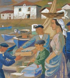 "Not Modern British, but Compare and Contrast to CW: Ramiro Arrue, 1892 ""St Jean de Luz - Pêcheurs et Kaskarote"" Fish Monger, Spanish Painters, Queen Fashion, Biarritz, Basque Country, Sculpture, Les Oeuvres, Folk Art, Old Things"