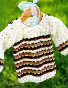 tejidos artesanales en crochet: sueter para niño tejido en crochet con guardas en ...