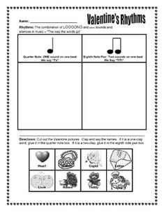 FREE on TpT - Valentine Song Worksheet - The Sweetest Melody - Match Valentine's Day words to ta and ti-ti rhythms. Also says that students can create a melody using some of the words.