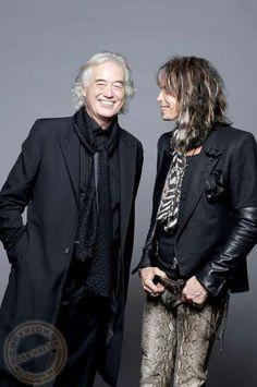 http://custard-pie.com/ Jimmy Page and Steven Tyler - photo: Ross Halfin