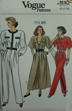 1980s Jumpsuits Vogue Pattern