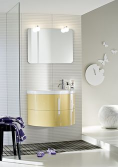 Lacquered single vanity unit COMP M02 Moon Collection by IdeaGroup