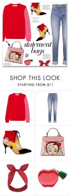 """Arm Candy: Statement Bags"" by kellylynne68 ❤ liked on Polyvore featuring Marni, Yves Saint Laurent, Lulu in the Sky, Urban Decay, Kate Spade and statementbags"