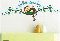 Nursery monkey sweet dreams wall decal sticker baby nusery home decor vinyl
