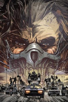 Cover art for Mad Max: Fury Road - Nux & Immortan Joe by Tommy Lee Edwards Mad Max Fury Road, Films Cinema, Cinema Tv, The Road Warriors, Bon Film, Alternative Movie Posters, Comic Covers, Science Fiction, Fiction Movies