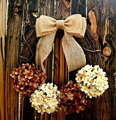 Wreath - Chocolate and Cream Hydrangea Wreath - Fall Wreath - Door Wreath - Rustic Wreath - Burlap Bow Wreath on Etsy, $50.00