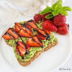 1 slice whole wheat, Ezekiel or gluten free bread 2 sliced strawberries 1 half mashed avocado drizzle of balsamic vinegar or balsamic glaze ...
