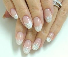 Bridal gel nails with crystals and lace by Nail Salon Magique in Tokyo