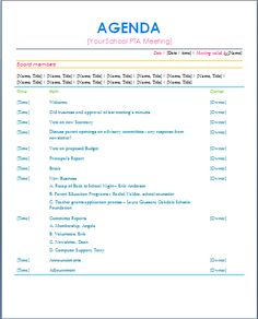 sample agenda pta stuff pta pta meeting meeting agenda template