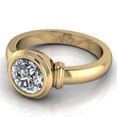 Moissanite Solitaire Engagement Ring 14k Gold Ring Name Bezeled Beauty