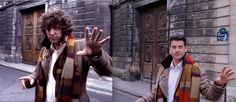 MBH does a fourth Doctor pose a la  'City Of Death' (Medusa door now completely restored and no longer looks like this in Paris.)