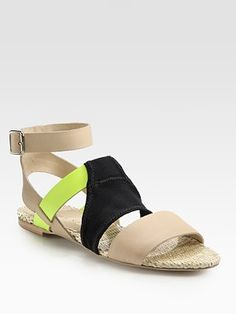 Loeffler Randall  Fawn Leather and Mesh Colorblock Gladiator Sandals