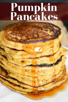Make these all the time- THE BEST RECIPE! Pumpkin Pancakes are a fall breakfast staple! Adding Greek yogurt lightens them up, adds protein, and keeps the pancakes delicious and moist! Pancake Recipe With Yogurt, Greek Yogurt Pancakes, Best Pancake Recipe, Greek Yogurt Recipes, Pancake Recipes, Moist Pumpkin Bread, Pumpkin Waffles, Pumpkin Recipes, Fall Recipes