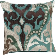 Cocoa and Teal Ikat Pillow