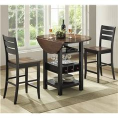 Small Round Pub Table With Storage 2 Chairs | Piece Drop Leaf Pub Table Set
