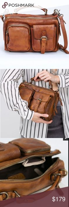 POL Gorgeous Brown Leather Bag Great for work! High End POL 100% Leather Bag! Completely on trend! Lots of great compartments for iPad, smart phones, plus more! Comes with dust bag! Super price! Has a strap that is removable! Bags Satchels