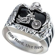 $149.00 Ride Hard, Live Free Men's Biker Ring Biker Jewelry Custom-crafted for the Free Spirit! Handsome Sterling Silver Biker Ring, Bradford Exchange Exclusive!  https://www.facebook.com/photo.php?fbid=134694913383067=a.115237391995486.1073741828.115224581996767=1