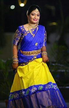 Half Saree Designs, Lehenga Designs, Blouse Designs, Half Saree Lehenga, Saree Dress, Sarees, Indian Designer Wear, Mehendi, Indian Girls
